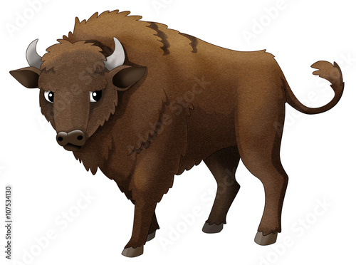 Fotografie, Obraz  Cartoon animal - bison - isolated - illustration for children