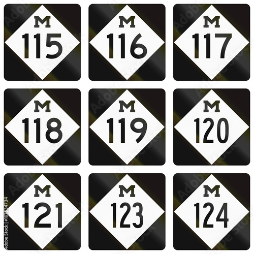 Poster  Collection of Michigan Route shields used in the United States