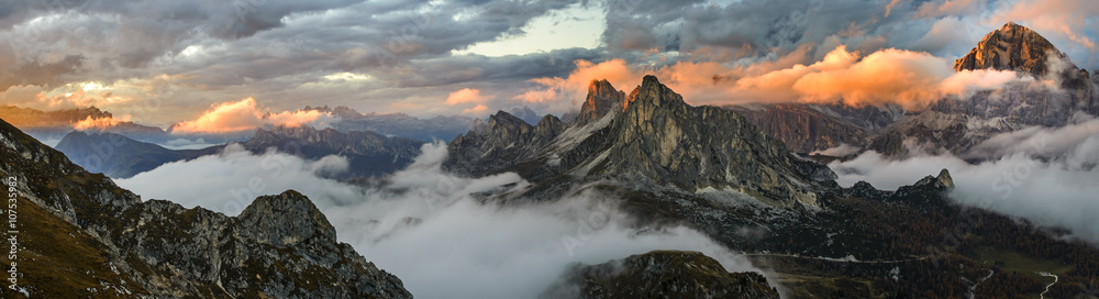 Fototapety, obrazy: Panorama sunset mountains in Dolomite