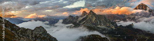 Spoed Foto op Canvas Donkergrijs Panorama sunset mountains in Dolomite