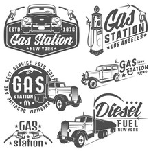 Set Of Retro Gas Station Car And Design Elements ,emblems,logo,labels.