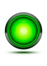 Green Traffic Stop Light Glowing Isolated On White With Shadow.