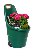 Plastic Garden Wheelbarrow Full Of Flowers, Isolated With Path