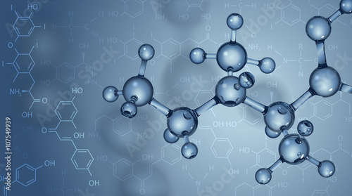 Fotografia  Vector background. Molecules and chemical formulas.