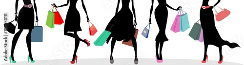 shopping bags and woman silhouettes