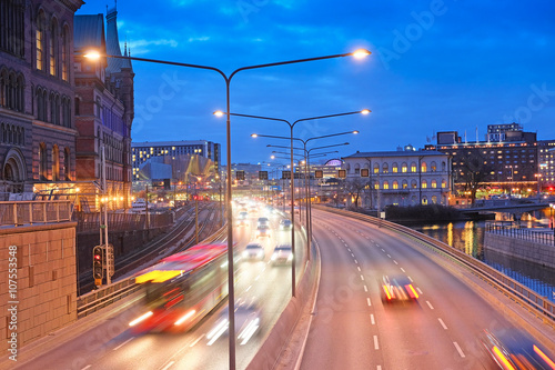 Photo  Stockholm, Sweden - March, 16, 2016: night traffic in a center of Stockholm, Swe