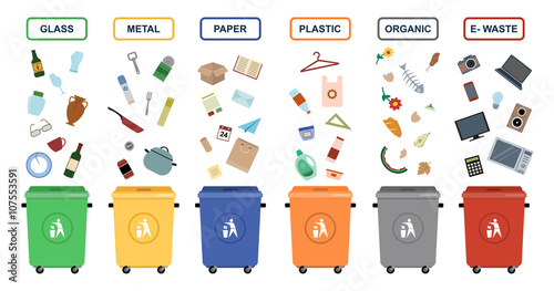 Garbage Cans Vector Flat Illustrations Sorting Garbage