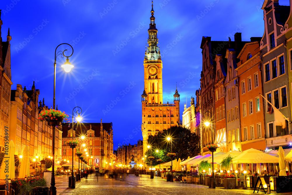 Fototapety, obrazy: Stare miasto Gdańsk w świetle późnego wieczoru