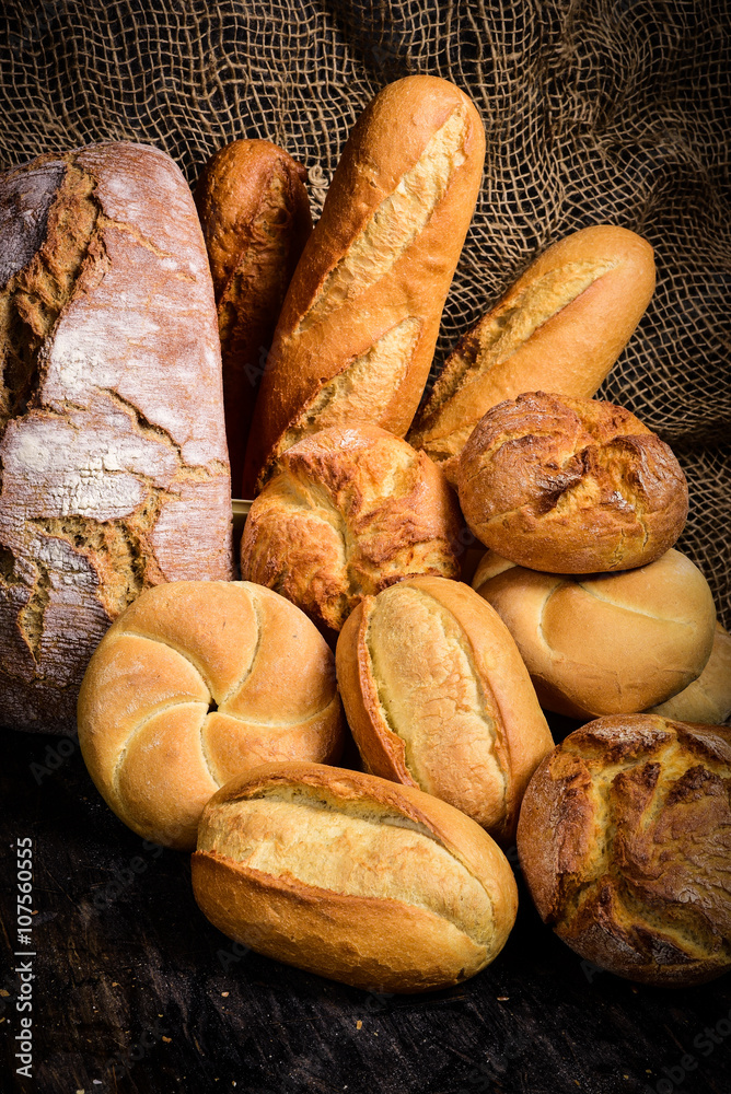 Different types of bread and rolls