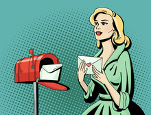Pop Art Beautiful Woman With Love Letter And Mailbox. Cartoon Blonde Hollywood Movie Star Receive A Postcard. Vintage Advertising Romantic Poster. Comic Hand Drawn Vector Illustration.