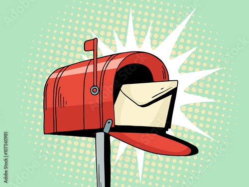 Fotografie, Obraz  Cartoon pop art red mailbox send letter