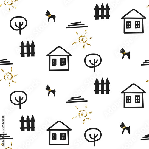 glitter-scandinavian-courtyard-fun-ornament-with-house