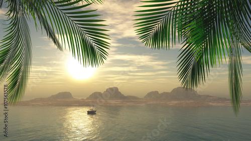 3D female sunbathing on a yacht in the ocean - 107563578