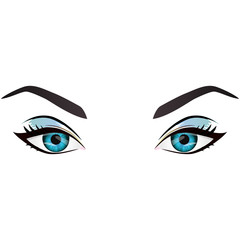Realistic cartoon vector female eyes and eyebrows