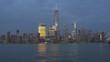 sunset night illumination new york manhattan bay famous panorama 4k usa