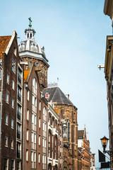 Fototapeta na wymiar street view of Traditional old buildings in Amsterdam, the Nethe