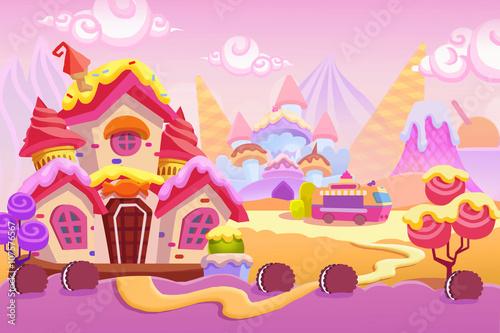 Creative Illustration and Innovative Art: Background Set 1: Ice cream Town. Realistic Fantastic