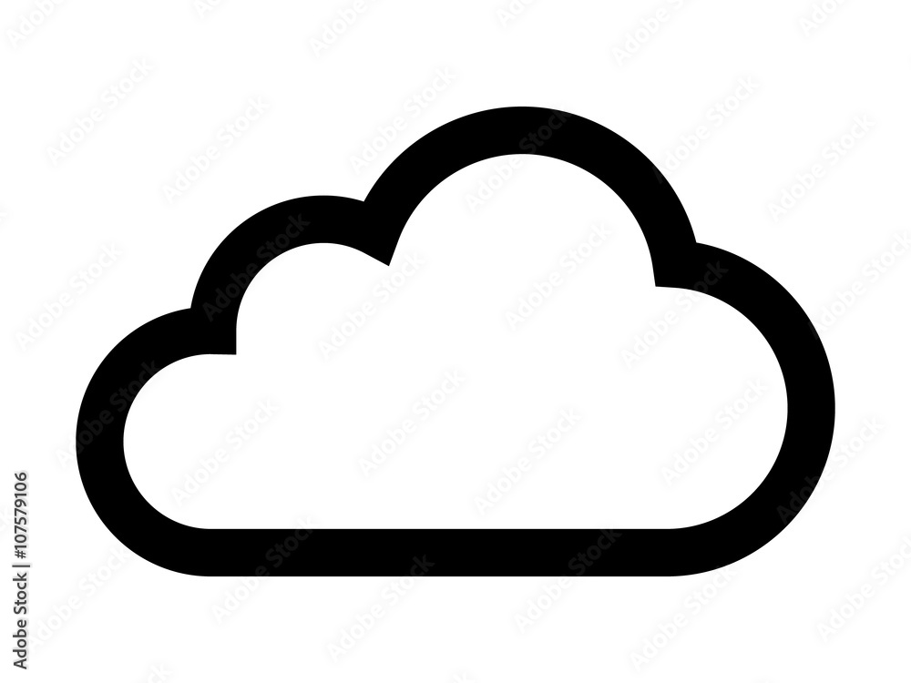 Fototapety, obrazy: Cloud drive storage or cumulus cloud line art icon