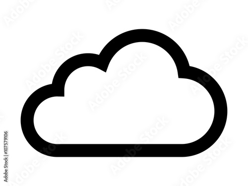 Cloud drive storage or cumulus cloud line art icon