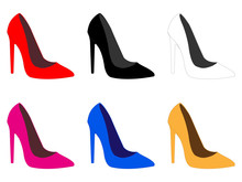 Set Of High Heels Shoes In Different Colours