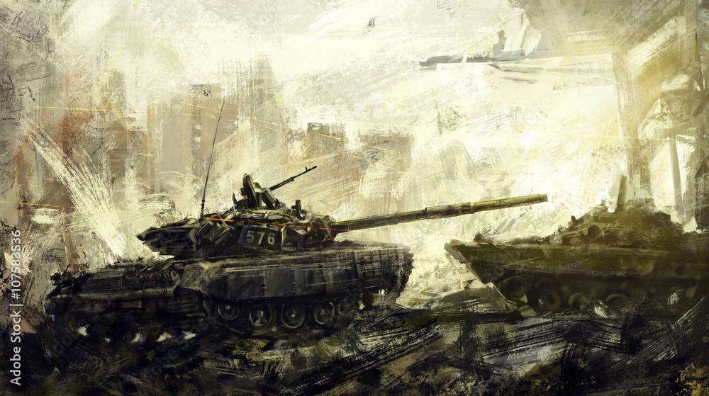 Fototapeta War, battle tank. Digital art. The digital image is drawn in the digital editor, using the author's brushes.