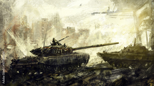 Fotomural  War, battle tank