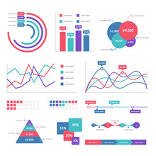 Flat Graph And Chart Vector Set. Colorful Modern Bar And Pie Infographic Concept.  Business Templates For Presentation Results And Statistics. Abstract Technology Diagram