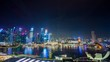 night marina bay sands hotel downtown panorama 4k time lapse singapore