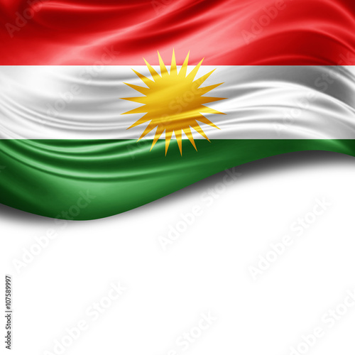 Fotografie, Obraz  Kurdistan flag of silk with copyspace for your text or images and White backgrou