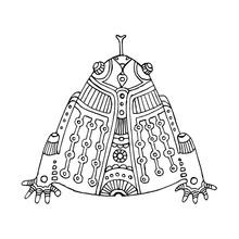 Black Outline Hand Drawn Aztec Frog