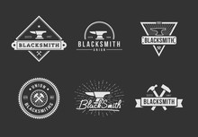 Black White Blacksmith Logo Set