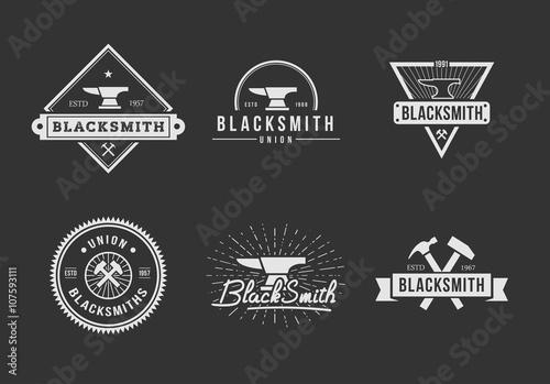 Carta da parati Black White blacksmith logo set