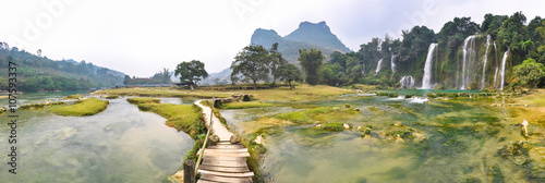 Panorama of the river and Bondzhuk Falls, North Vietnam