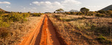 Fototapeta Sawanna - Red road in Tsavo East National Park, Kenya