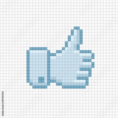 Photo sur Toile Pixel Thumb up icon of pixel art style.