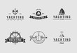 White and Black yachting logo set