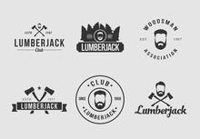 White And Black Lumberjack Logo Set