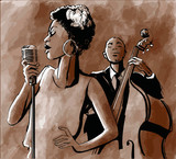 Jazz singer and double-bass - 107595166