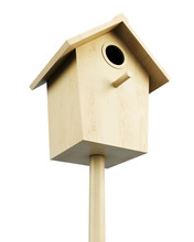 Wooden Bird House Isolated On ...