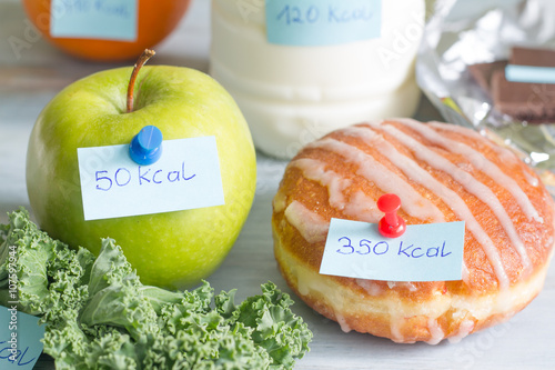 Foto Calorie counting and food with labels concept