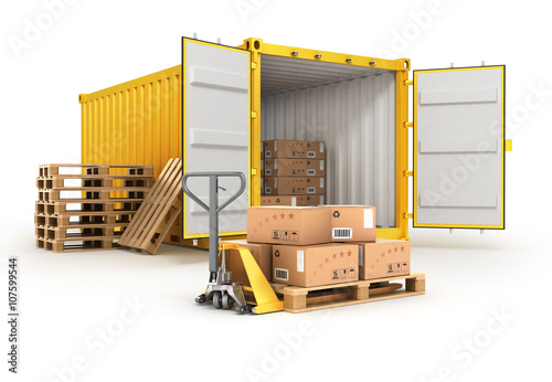 Fotografia  open container pallets with boxes and hand truck isolated on whi