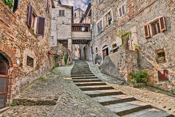 Fototapeta Schody alley in the village Anghiari in Arezzo, Tuscany, Italy