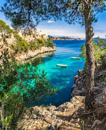 Akustikstoff - Mediterranean bay with rowboats at Cala Fornells Majorca Spain