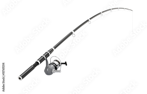Stampa su Tela Fishing rod spinning on a white background. 3d illustration.