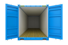 Blue Cargo Container With Open Doors