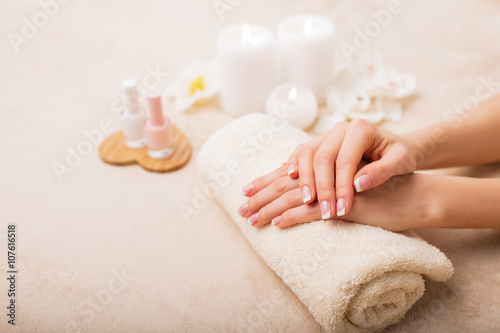 Poster Pedicure French manicure at spa studio