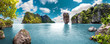 Leinwandbild Motiv Paisaje pintoresco.Oceano y montañas.Viajes y aventuras alrededor del mundo.Islas de Tailandia.Phuket.