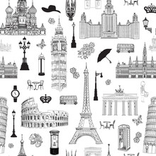 Travel Seamless Pattern. Vacation In Europe Background. Famous  Word Landmarks