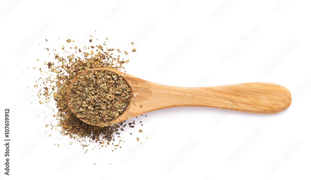 Fototapety, obrazy: Wooden spoon and dried basil