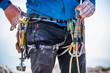Climbing equipment on man